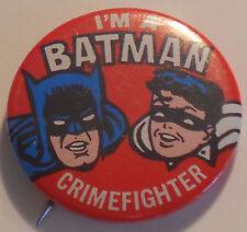 I'M A BATMAN CRIMEFIGHTER Button/Pin ©N.P.P. INC. 1966 - BOB KANE Batman & Robin