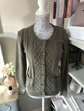 Fat Face Khaki Army Green Chunky Knit Linen Mix Cardigan Size 10