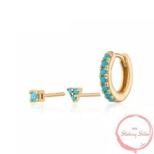 Ladies, Earrings, Hoop, Gold, Hoop 925, Silver, Turquoise, Studs, Geo New