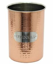 VINTAGE STYLE HAMMERED COPPER UTENSIL POT CUTLERY STORAGE TIN