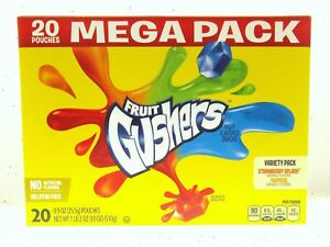 Betty Crocker Fruit Gushers Strawberry Splash/Tropical Snacks Variety 20 Pk