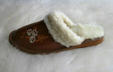 Womens Mens Natural Leather Slippers with Sheepskin  36 37 38 39 40