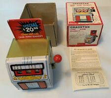 ONE ARM BANDIT Rare CRAGSTAN Vintage Battery Operated Tin Toy COMPLETE See Video