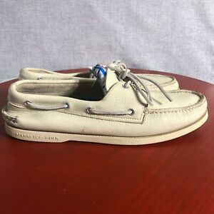 Sperry Top Sider Men's Size 12W Cream Leather Lace Up Casual Two Eye Boat Shoes