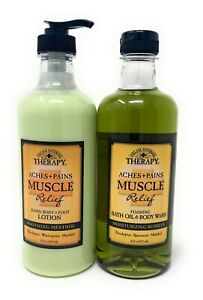 Village Naturals Therapy Muscle Relief Body Wash and Lotion Set
