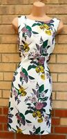 H&M WHITE PINK GREY GREEN FLORAL BEADED SLEEVELESS BODYCON COCKTAIL DRESS 10 S