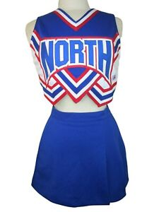 "SEXY Cropped Cheerleader Uniform NORTH RW&B 32-36"" Top 23-26 Trifly Skirt C&D"
