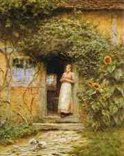 Old English Cottage Door Sun Fowers Woman Rabbit 8x10 Print Vintage Scene 134