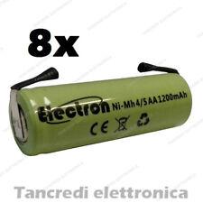 8 Batterie pile NiMh 4/5 AA stilo ricaricabile terminali a saldare tabs battery