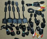 JOB LOT 10 x SONY PLAYSTATION 1 2 PS2 PS3 RF TV AERIAL + COMPOSITE AV CABLE LEAD