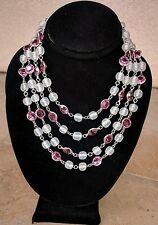 Vintage 4-Strand Pink Crystal Open Back Bezel Glass Bead Rhinestone Necklace