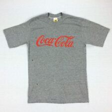 Coca-Cola Rayon Tri-Blend VelvaSheen T Shirt Gray USA 80s Rare Vintage Sz Medium