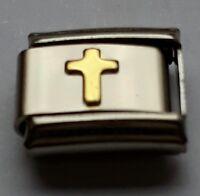Gold CROSS Jesus Faith Religion 9mm Italian Charm Bracelet Charms Link