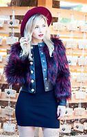 BALMAIN H&M RED FAUX FUR JACKET SIZE UK14/EUR40/US10