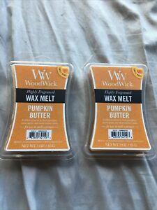 lot of 2 WoodWick highly fragranced Pumpkin Butter wax melts 3oz