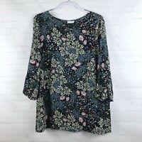 J.Jill Women's Size L Floral Rayon Tunic Top  3/4 Bell Sleeve