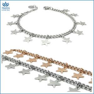 Bracciale da donna braccialetto con stelle stelline acciaio inox argento maglia