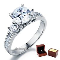 3-Stone Engagement Ring 2 Ct Lab Created Diamond 925 Sterling Silver Wedding