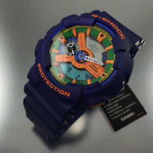 New Casio G-Shock Men's GA110FC-2A Blue Resin Quartz Watch with Green Dial