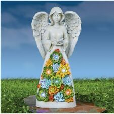 Solar Antique Stone-like Finish Angel w/ Succulents Outdoor Garden Statue
