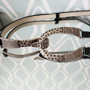 Chico's Black Leather Horseshoe Belt Silver Tone Buckle Womens M-L