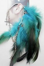 Women One Side Cuff Earring Festival Fashion Jewelry Blue Long Feathers Crosses