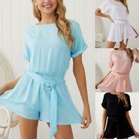 UK Womens Mini Playsuit Ladies Jumpsuit Short sleeve Summer Holiday Beach Dress