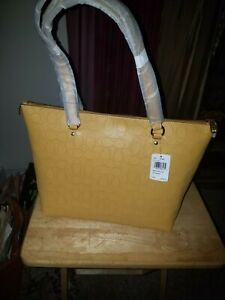 NWT Coach Gallery Tote In Signature Perforated Leather  1499 - Gold/Honey