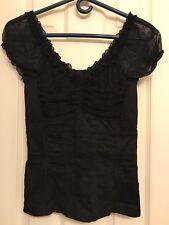 Tripp NYC Black Corset Mesh Lace Ruffles Zip Size XS Extra Small