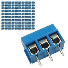 100 pcs 5mm Pitch 300V 16A 3P Poles PCB Screw Terminal Block Connector Blue