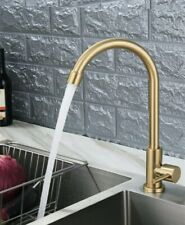 Deck Mounted Kitchen Single Cold Faucet Stainless Steel Brushed Gold Sink Water