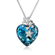 Swarovski Crystal w/ Blue Heart Stone and Sterling Silver Necklace