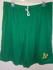 0724-1 Mens Majestic OAKLAND ATHLETICS A's Jersey Polyester SHORTS Green New
