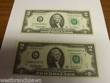 Sequential Serial Number $2 Two Dollar Bills, Uncirculated US, 2003 A Chicago