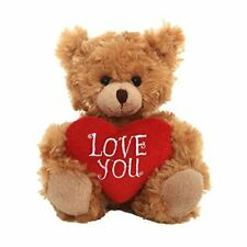 Plushland Stuffed Mocha Heart Bear  Love You- Plush Bear Toy for Kids & Adults -