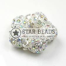 5 GLASS RHINESTONE SILVER PLATED MAGNETIC BALL CLASPS CLEAR AB 10MM