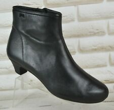 CAMPER Womens Black Leather Heeled Ankle Boots Casual Shoes Zip Size 6 UK 39 EU