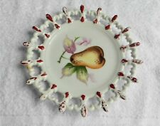 Lefton Hand Painted China Plates Set Of Two Fruit Design ~ Pear ~ Peach Japan