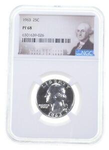 1963 PF68 Proof Washington Quarter NGC Graded - White Coin Spot Free PR *0373
