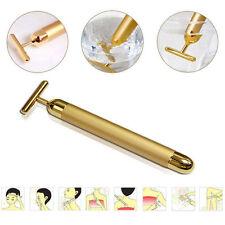 24k Gold Beauty Bar Facial Roller Serum Vibration Skincare Massager Device GUR
