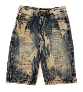"Boys Lion Dynasty Denim Jean Shorts Size 10 12.5"" Pockets Distressed Destroyed"