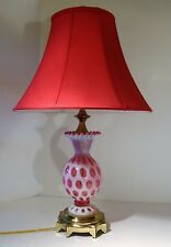 Vtg Fenton Cranberry Coin Dot Opalescent Glass Table Lamp w/Shade BEAUTIFUL!