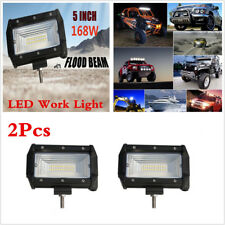 Pair 5Inch 168W 24 LED Light Bar Flood Beam Work Fog Lamp For SUV Offroad 4WD