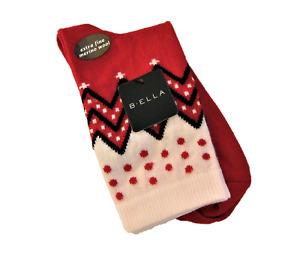 B. Ella Ladies 72% X-Fine Merino Wool Blend Crew Socks Karena Red Black Ivory