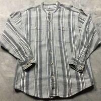 90s VTG BAND COLLAR Mandarin M Vertical STRIPED Shirt HEAVY 80s White Black