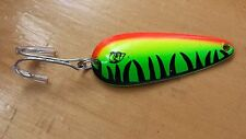 Vintage Metal Eppinger Dardevle Fishing Lure Green Black Stripe