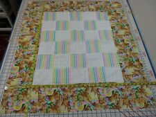Handmade Unfinished Quilt Top Stripe& White Squares Bunny Border Appro. 34x38(13