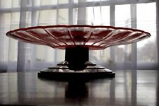 ART DECO CAKE~FRUIT peach glass top SERVING DISH~STAND on STEPPED PEDESTAL FOOT