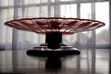 Art Deco Pastel ~ fruta Melocotón vidrio superior Plato ~ Soporte en pedestal escalonado