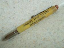 "Bullet CELLULOID ADVERTISING Vintage PENCIL ""MODEL TIRE STORE"" Re-Cap Retread ad"
